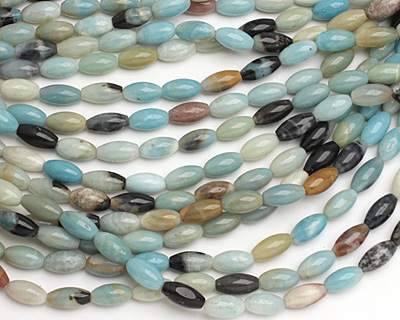 Black Gold Amazonite Rice 16x8mm