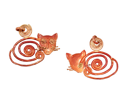 Patricia Healey Spiral Cat Pendant 55x47mm