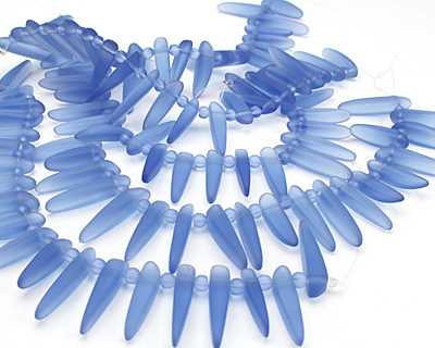 Light Sapphire Recycled Glass Tusk 4-6x22-30mm