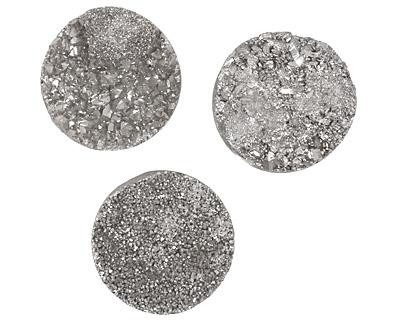 Druzy (metallic silver) Round Cabochon 30mm