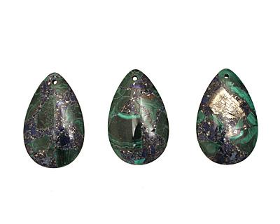 Azurite Malachite & Pyrite Teardrop Pendant 30x47mm