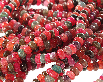 Bold Rainbow Fire Agate Faceted Rondelle 8mm