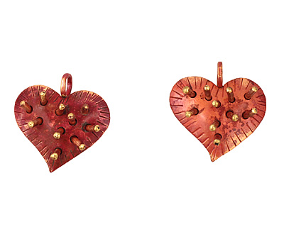 Patricia Healey Copper Spike Heart Pendant 26x27mm