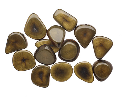 Tagua Nut Olive Banana Chip 22-29x16-22mm