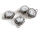 Metallic Silver Druzy w/ Pave Wrap Coin Focal Link Set in Silver (plated) 22x14mm
