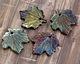 XAZ Raku Blue Chameleon Maple Leaf Pendant 29-30x31-32mm