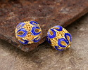 Cloisonné Blue w/ Gold Finish Filigree Open Petals Rice Bead 10x8.5mm
