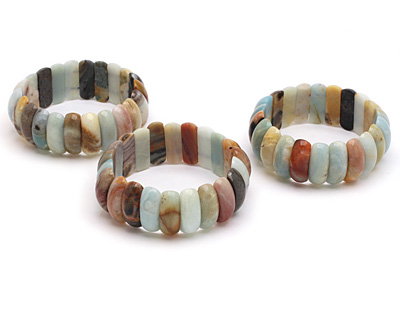 Black Gold Amazonite 2-Hole Curved Pillow Stretch Bracelet 9x25mm