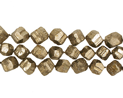 Chalcopyrite Diagonal Drilled Faceted Nugget 16-21x14-20mm