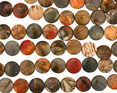 Red Creek Jasper Puff Coin 18mm