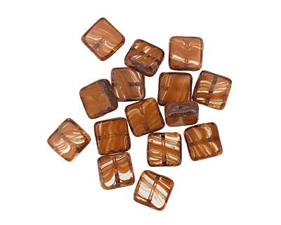 Czech Glass Carmel Candy Square 10mm