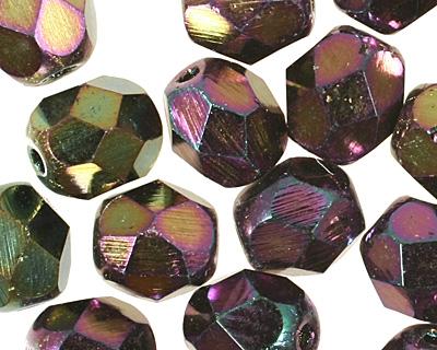Czech Fire Polished Glass Iris Purple Round 6mm