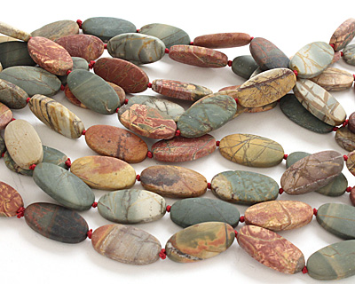 Red Creek Jasper (matte) Flat Oval 30x15mm