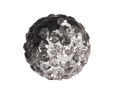 Jet/Crystal Ombre Pave Round 10mm