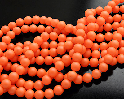 Neon Orange Shell Pearl Round 8mm