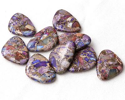 Purple Impression Jasper & Pyrite Flat Freeform Pendant 31-32x45-46mm