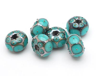 Grace Lampwork Ocean Green w/Metal Dots Rondelle 10x16mm