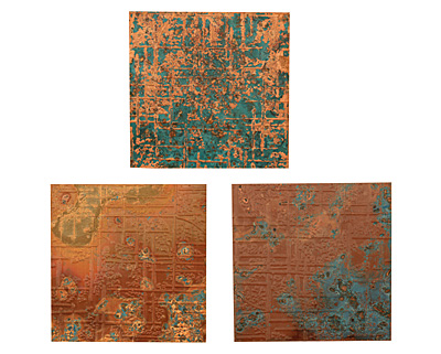 Lillypilly Mottled Groovy Circles Embossed Patina Copper Sheet 3