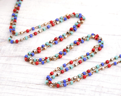 Heat Wave Delicate Brass Seed Bead Chain