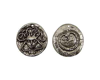 Green Girl Pewter Medusa Coin 24x26mm