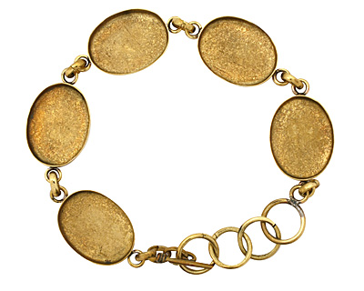 Brass Oval Bezel Link Bracelet 24x18mm