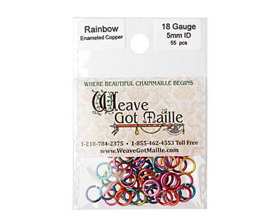 Rainbow Mix Enameled Copper Round Jump Ring 7mm, 18 gauge