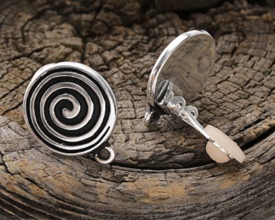 TierraCast Antique Silver (plated) Spiral Ear Clip 16x20mm