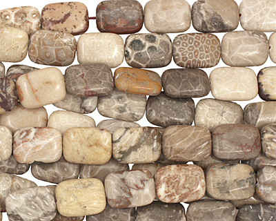 Gray Fossil Jasper Thin Pillow 20x15mm