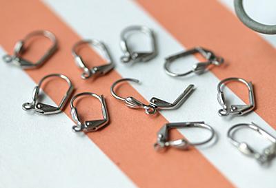 Stainless Steel Leverback Shell Earring w/ Open Loop 10x14mm