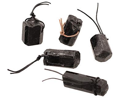 Black Tourmaline Faceted Nugget Pendant 28-48x18-24mm