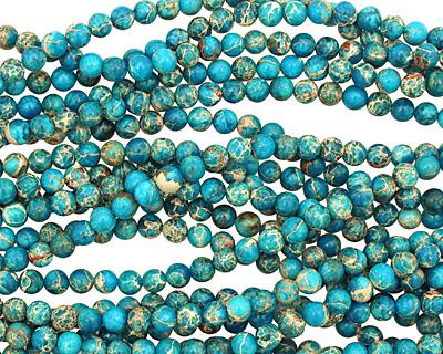 Ocean Blue Impression Jasper Round 4mm
