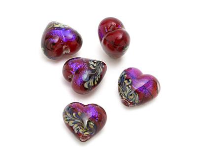 Grace Lampwork Violet Shimmer Heart 18-20mm