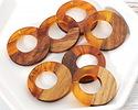 Walnut Wood & Tortoise Shell Swirl Resin Off-Center Hoop Focal 28mm