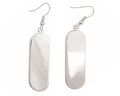 Silver (plated) Oval Bezel Earrings 7x38mm