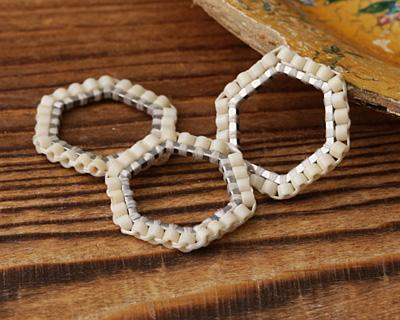 White Miyuki Delicas Woven on Stainless Steel Hexagon 16mm