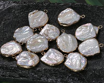 Pearly White Biwa Pearl Freeform Drop in Gold Finish 17-18x22-26mm