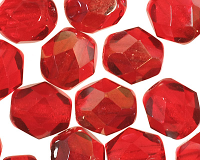 Czech Fire Polished Glass Twilight Siam Ruby Round 6mm