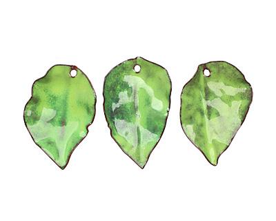 C-Koop Enameled Metal Lime Round Leaf 19-21x30-33mm