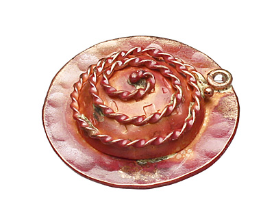 Patricia Healey Copper Spiral Ring Pendant 27mm