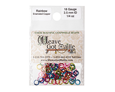 Rainbow Mix Enameled Copper Round Jump Ring 5mm, 18 gauge
