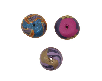 Humble Beads Polymer Clay Blooms & Bark Tiny Disk 7-8x9-10mm