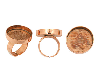 Copper Adjustable Ring Circle Bezel 23mm