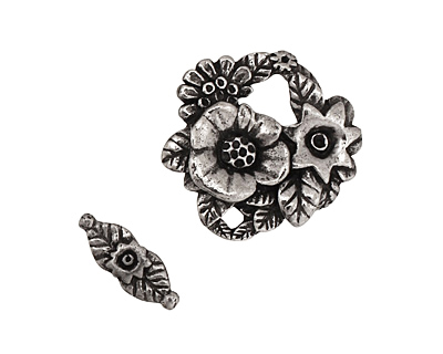 Green Girl Pewter Bouquet Toggle Clasp 19x18mm, 12mm bar