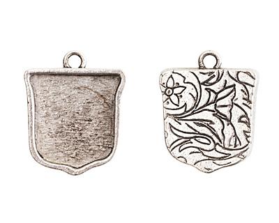 Nunn Design Antique Silver (plated) Crest Ensign Bezel Pendant 20x24mm