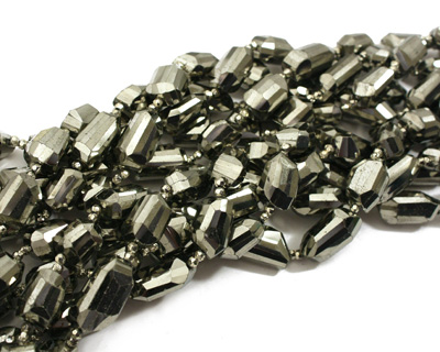 Golden Pyrite (silver tone) Faceted Nugget 15-21x10-12mm
