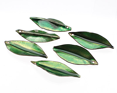 C-Koop Enameled Metal Peacock Green/Clear Pointed Leaf 15-20x40-45mm