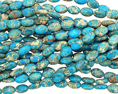 Ocean Blue Impression Jasper Flat Oval 12x8mm