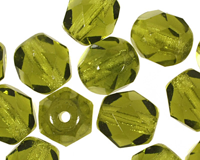 Czech Fire Polished Glass Olivine Round 6mm