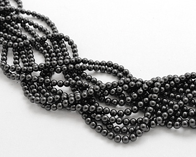 Charcoal Shell Pearl Round 4mm