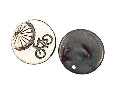 Earthenwood Studio Ceramic Oxidation Round Bicycle Pendant 36mm
